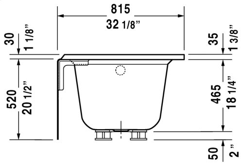 White Architec Bathtub With Panel Height 20 1/2""