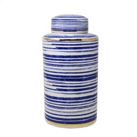 "Striped White/blue/gold Jar 16"""