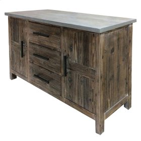 Venezio Sideboard 3 Drawers + 2 Doors w/ Faux Cement Top, Rustic Brown