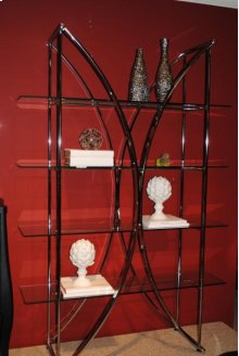 CHROME / 4 GLASS SHELF ETAGERE