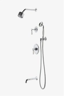 """Highgate Pressure Balance Shower Package with 3 1/4"""" Shower Head, Handshower, Tub Spout and Diverter Lever Handle STYLE: HGSP24"""