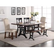 Astor Dining Table Top  with 4 Chairs and Bench Product Image