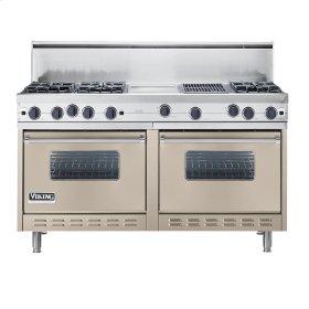 "Taupe 60"" Open Burner Commercial Depth Range - VGRC (60"" wide, six burners 12"" wide griddle/simmer plate 12"" wide char-grill)"