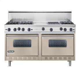 "Taupe 60"" Open Burner Commercial Depth Range - VGRC (60"" wide, six burners 12"" wide griddle/simmer plate 12"" wide char-grill)"