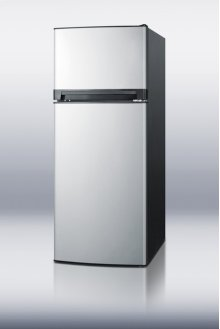 10 cu.ft. ADA compliant frost-free refrigerator-freezer with black cabinet and stainless steel doors