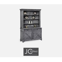 Antique Dark Grey China Cabinet