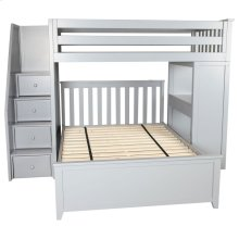 All in One Staircase Loft Bed Study   Full Bed Grey