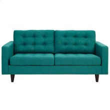 Empress Upholstered Fabric Loveseat in Teal