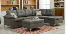 Macy Gray Sectional with Storage Ottoman