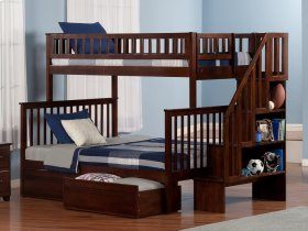 Woodland Staircase Bunk Bed Twin over Full with Flat Panel Bed Drawers in Walnut