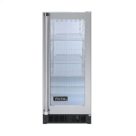 """Stainless Steel 15"""" Glass Door Beverage Centers - VUAR (White Interior, Fluted Glass, Right Hinge)"""