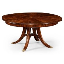 "59"" Mahogany Circular Dining Table with Self-Storing Leaves"