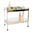 Nickel Plated Bar Cart With Mirrored Shelf. Product Image
