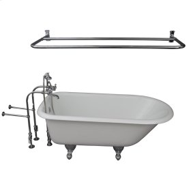 """Brocton 68"""" Cast Iron Roll Top Tub Kit - Polished Chrome Accessories - White"""