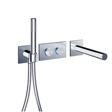 "pure2 electronica in-wall thermostatic tubfiller with handshower & smooth 42"" Neoperl hose"