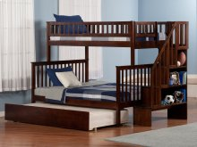 Woodland Staircase Bunk Bed Twin over Full with Urban Trundle Bed in Walnut