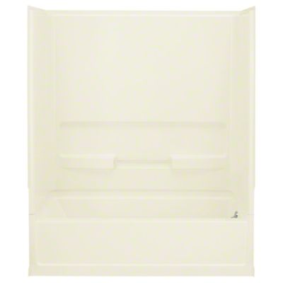 "Advantage™, Series 6103, 60"" x 30"" x 72"" Bath/Shower with Age in Place Backers - Right-hand Drain - KOHLER Biscuit"