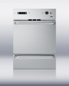 """Stainless steel 220V electric wall oven with digital clock/timer and pro handles; for cutouts 22 3/8"""" wide by 34 1/8"""" high"""
