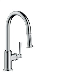 Chrome Single lever kitchen mixer 180 with pull-out spray