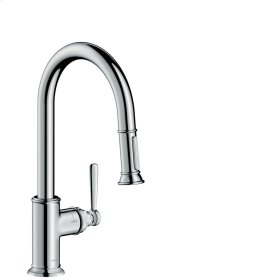 Brushed Chrome Single lever kitchen mixer 180 with pull-out spray
