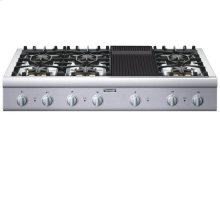 "48"" COOKTOP WITH 6 STAR  BURNERS (2 W/ EXTRALOW®)   AND GRILL"