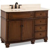 "48"" vanity with walnut finish and simple bead board doors and curved shape with preassembled top and bowl."