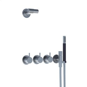 Two-handle build-in mixer with 1/4 turn ceramic disc technology and diverter - Gloss black