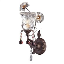 Cristallo Fiore Collection 1-Light Wall Sconce in Deep Rust with Drops of Amber