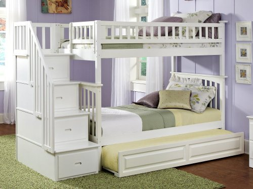 Columbia Staircase Bunk Bed Twin over Twin with Raised Panel Trundle Bed in White