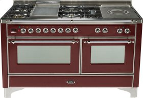Burgundy with Chrome trim - Majestic 60-inch Range with French Cooktop