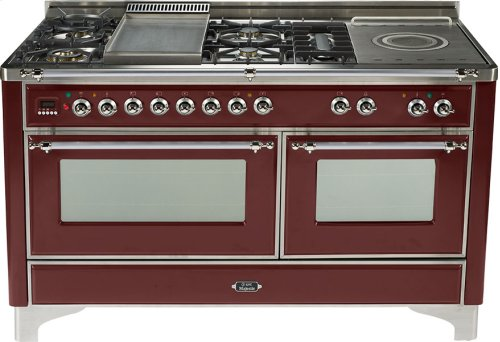 Burgundy with Chrome trim - Majestic 60-inch Range with Griddle
