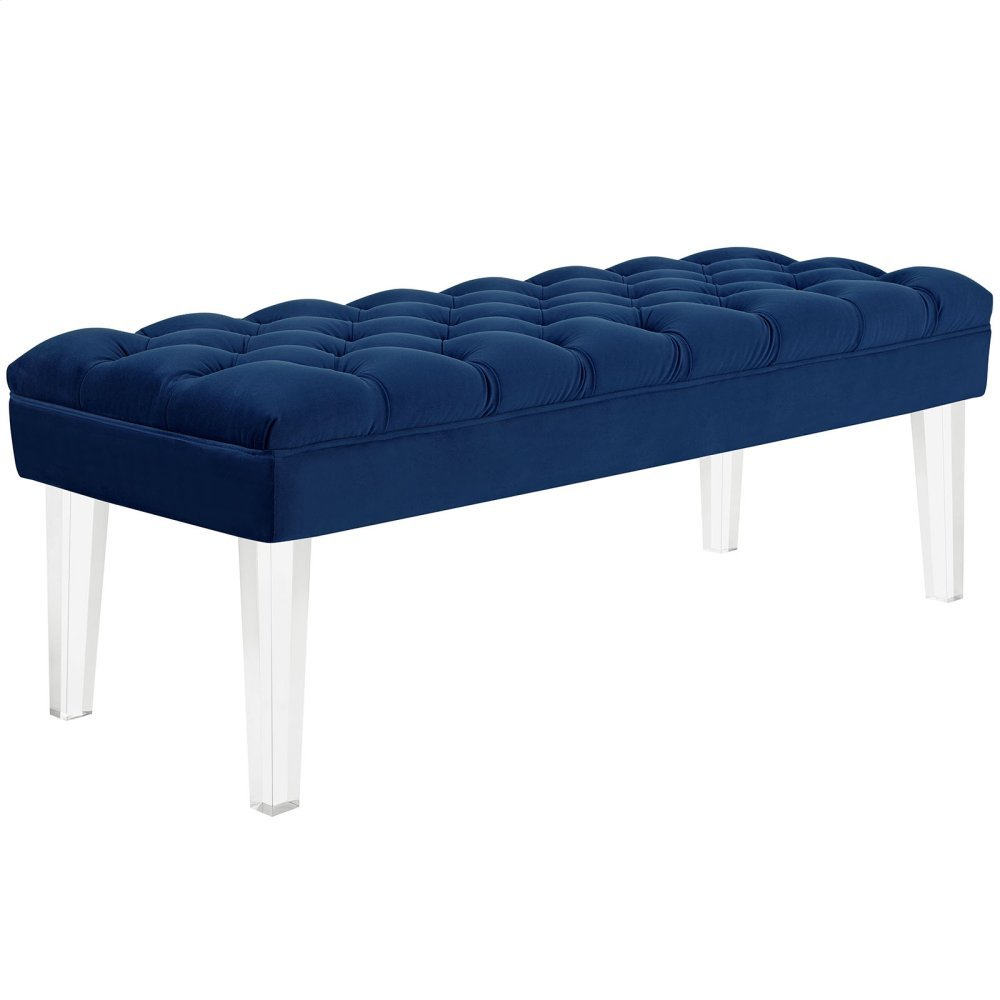 Valet Performance Velvet Bench in Navy