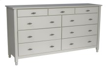 Cottage 9 Drawer Dresser, Top Three Drawers Split