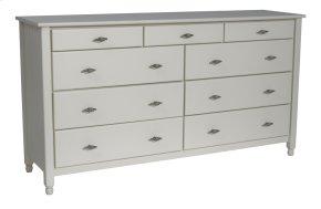 Cottage 9 Drawer Dresser, Top Three Drawers Split