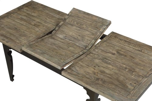 """Emerald Home Valencia Extension Dining Table W/24"""" Leaf-natural Reclaimed Pine Finish With Black Metal Legs D559-10"""