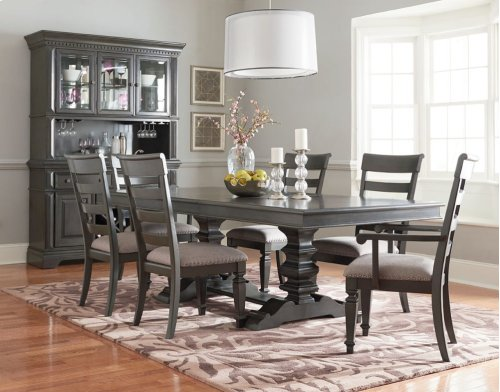 STANDARD 2014906-14906-14904-14905 Garrison Trestle Table 18 Inch Leaf, 4 Side Chairs & 2 Arm Chairs