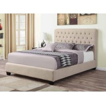 Chloe Transitional Oatmeal Upholstered Queen Bed