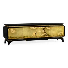 Modern Asian Smoky Black & Gold Entertainment Cabinet