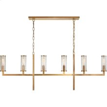 Visual Comfort KW5203AB-CRG Kelly Wearstler Liaison 6 Light 62 inch Antique-Burnished Brass Linear Chandelier Ceiling Light, Large