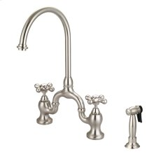Banner Kitchen Bridge Faucet with Metal Button Cross Handles - Brushed Nickel