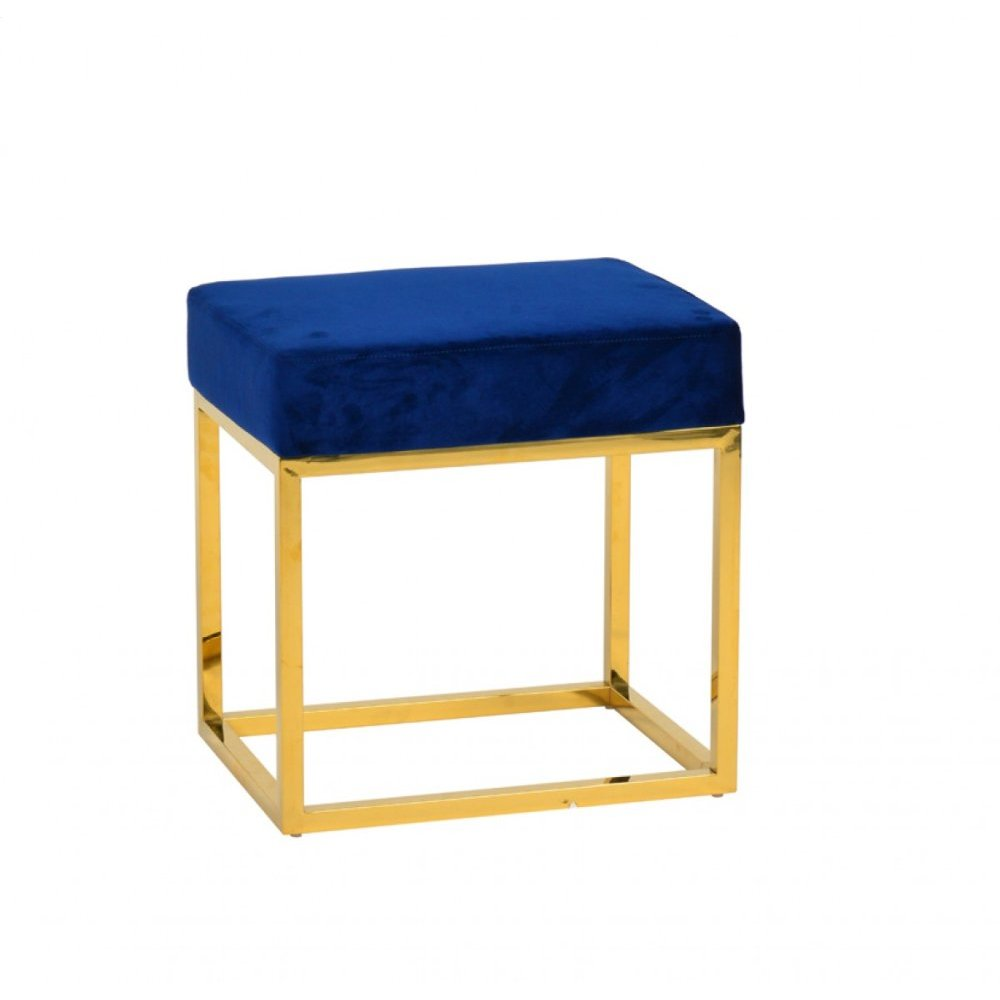 Modrest Downey Modern Blue Velvet & Gold Stool Ottoman