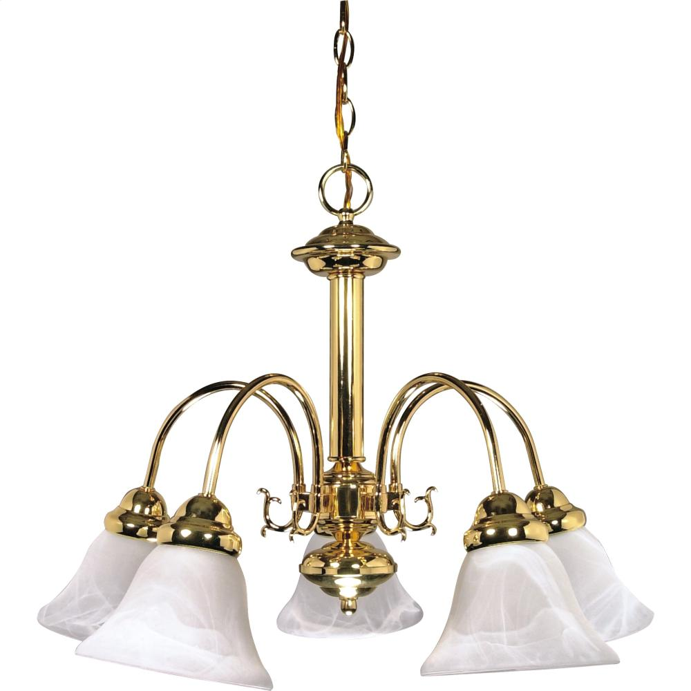 5-Lights Polished Brass Chandelier with Alabaster Glass Bell Shades