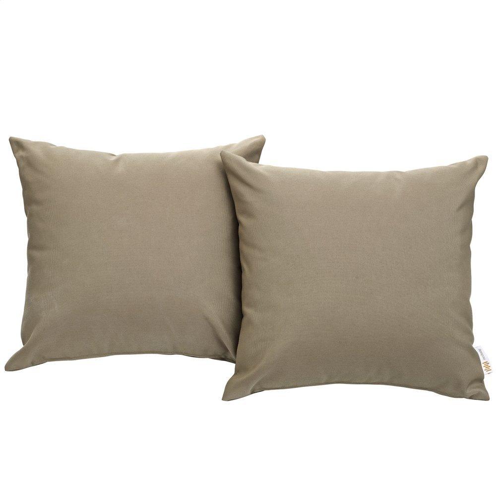 Convene Two Piece Outdoor Patio Pillow Set in Mocha