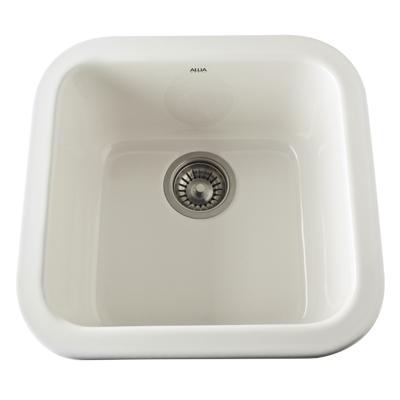 Pergame Biscuit Allia Fireclay Single Bowl Bar/Food Prep Sink