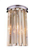 "1208 Sydney Collection Wall Lamp W:8"" H:14"" E5"" Lt:2 Polished nickel Finish (Royal Cut Golden Teak Crystals) Product Image"