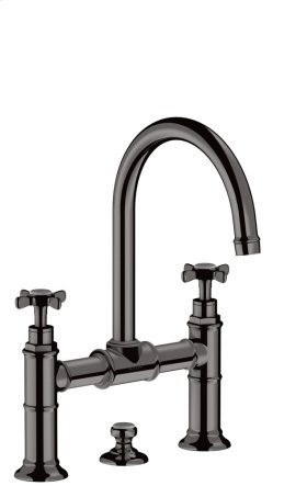 Polished Black Chrome 2-handle basin mixer 220 with cross handles and pop-up waste set