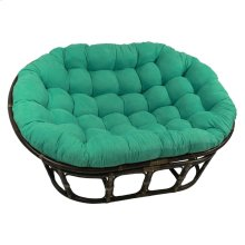 Bali Rattan Mamasan Double Papasan Chair with Microsuede Plush Cushionss - Walnut/Emerald