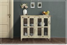 Console w/ 4 Glass Doors - Vanilla finish