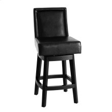 "Wayne Swivel Barstool In Black Bonded Leather 30"" seat height"
