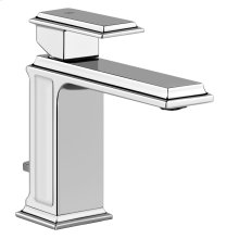 "Single lever washbasin mixer with pop-up assembly Spout projection 5"" Height 5-7/8"" Includes drain Max flow rate 1"